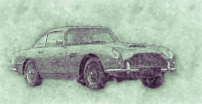 Transportation Royalty-Free and Rights-Managed Images - Aston Martin DB5 3 - Luxury Grand Tourer - Automotive Art - Car Posters by Studio Grafiikka