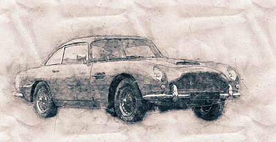Transportation Mixed Media - Aston Martin DB5 - Luxury Grand Tourer - Automotive Art - Car Posters by Studio Grafiikka