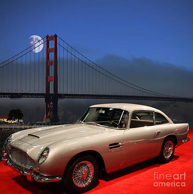 Aston Martin Db5 Under The Golden Gate Moon Art Print by Wingsdomain Art and Photography