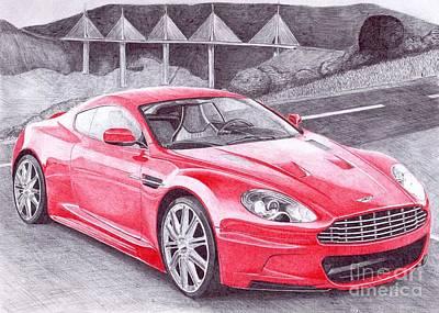 Super Cars Drawing - Aston Martin by Oleg Kozelskiy