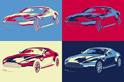Mixed Media - Aston Martin Pop Art Panels by Dan Sproul