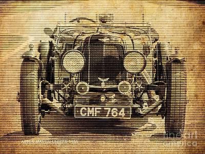 Aston Martin Ulster 1935, Vintage Background Art Print