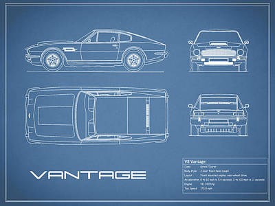 Antique Car Photograph - Aston Martin V8 Vantage Blueprint by Mark Rogan
