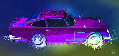 Sean Connery Mixed Media - Aston Martin Wet by Edier C