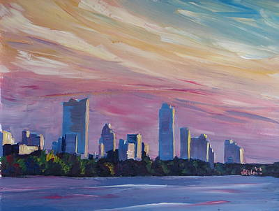 Astonishing Austin Texas Skyline At Dusk Original by M Bleichner
