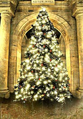 Photograph - Astor Hall At Christmas by Diana Angstadt