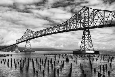 Photograph - Astoria Bridge In Black And White by Mark Kiver