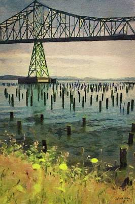 Digital Art - Astoria Waterfront, Scene 3 - Pier Posts Under The Bridge by Jeffrey Kolker