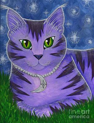 Art Print featuring the painting Astra Celestial Moon Cat by Carrie Hawks