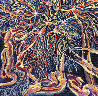 Painting - Astrocytes Microbiology Landscapes Series by Emily McLaughlin