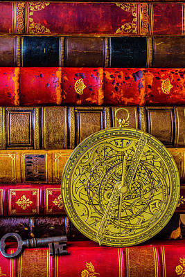 Pocket Watch Photograph - Astrolabe And Old Books by Garry Gay