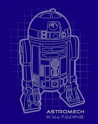 Astromech Blueprint Art Print by Edward Draganski