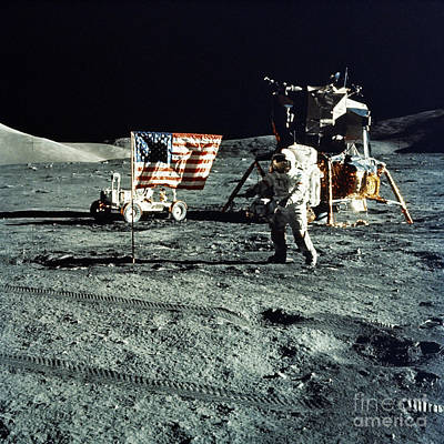 Photograph - Astronaut And Lunar Module On Moon by Stocktrek Images