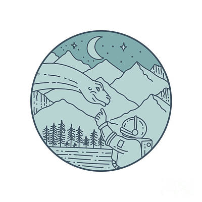 Brontosaurus Digital Art - Astronaut Brontosaurus Moon Stars Mountains Circle Mono Line by Aloysius Patrimonio