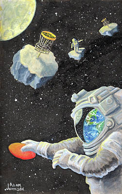 Painting - Astronaut Disc Golf by Adam Johnson
