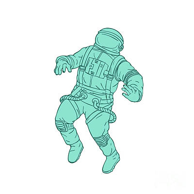 Astronauts Digital Art - Astronaut Floating In Space Drawing by Aloysius Patrimonio