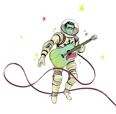 Drawing - Astronaut Holding Guitar by Goni Montes