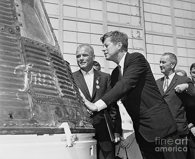 Lyndon Photograph - Astronaut John Glenn, President John Kennedy And Vice-president Lyndon Johnson by The Titanic Project