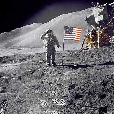 Apollo 15 Pyrography - Astronaut Salute  by Artistic Panda