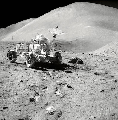 Photograph - Astronaut Works At The Lunar Roving by Stocktrek Images
