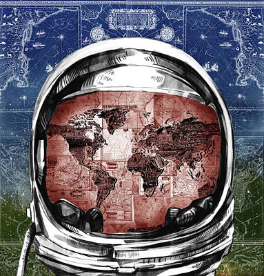 Old Map Painting - Astronaut World Map 3 by Bekim Art