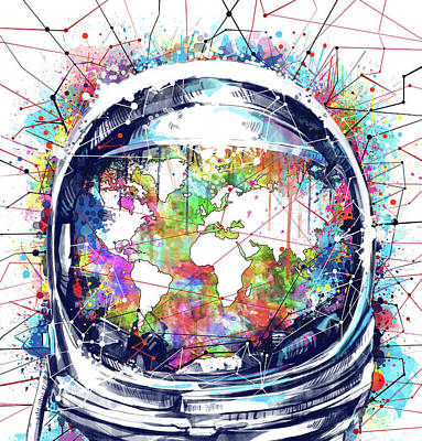 Mapping Painting - Astronaut World Map 6 by Bekim Art