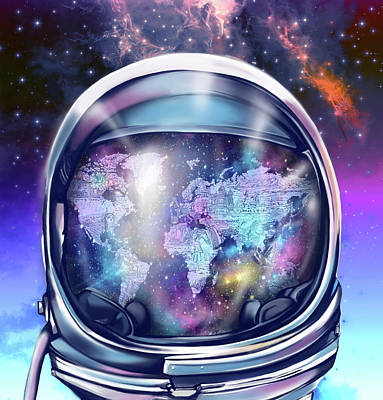 Diving Helmet Painting - Astronaut World Map 9 by Bekim Art