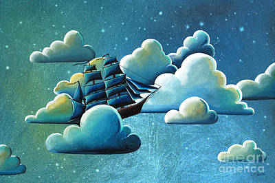 Pirate Ship Painting - Astronautical Navigation by Cindy Thornton
