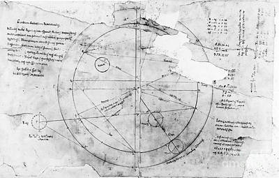 1636 Photograph - Astronomical Chart By Galileo, 1636 by Wellcome Images