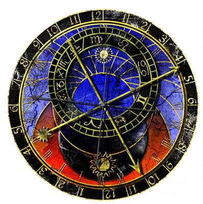 Astronomical Clock In Grunge Style Art Print by Michal Boubin