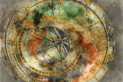 Czech Digital Art - Astronomical Clock In The Old Town Square In Prague by Brandon Bourdages