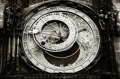 Photograph - Astronomical Clock. Prague. Black And White by Jenny Rainbow