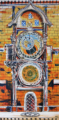 Astronomical Clock Painting - Astronomical by Laura Hol
