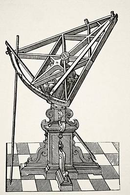 Astronomical Drawing - Astronomical Sextant For Measuring by Vintage Design Pics