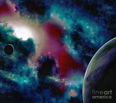 Astronomy Painting Glammed Out Teal Art Print