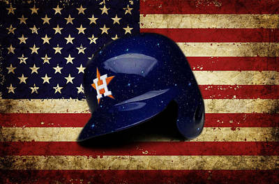 Pastime Mixed Media - Astros Batting Helmet by Dan Haraga