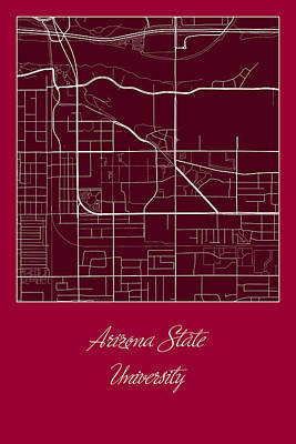 University Digital Art - Asu Street Map - Arizona State University Tempe Map by Jurq Studio