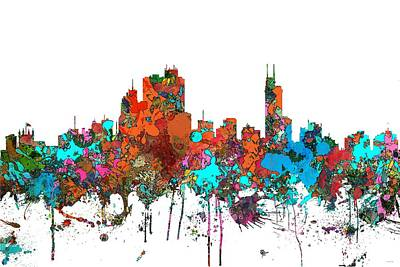 Digital Art - Asuncin Paraguay Skyline  by Marlene Watson