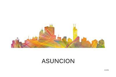 Asuncion Paraguay  Skyline Art Print by Marlene Watson