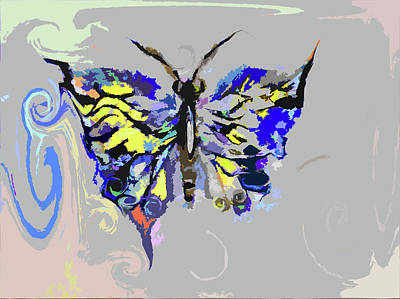 Digital Art - Asymmetrical Butterfly Painting by Lisa Kaiser