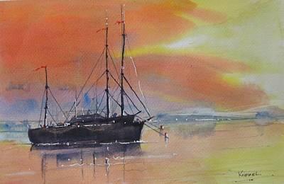 Painting - At Anchor At Sunset by Harold Kimmel