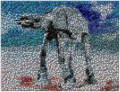 Bottlecap Digital Art - At-at Bottle Cap Mosaic by Paul Van Scott