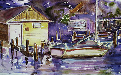 Painting - At Boat House 3 by Xueling Zou
