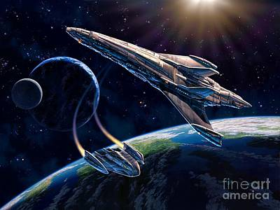 Space Ships Digital Art - At Corealla by Stu Shepherd