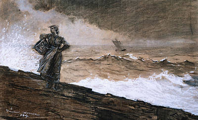 Lady On The Beach Painting - At High Sea by Winslow Homer