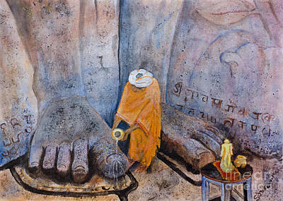 Sadhu Painting - At His Feet by Samanvitha Rao