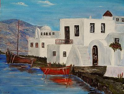 At Home In Greece Art Print