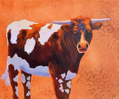 Steer Painting - At Home On The Range by Nancy Jolley