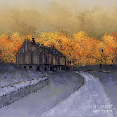Country Road Digital Art - At Just Dawn by Lois Bryan