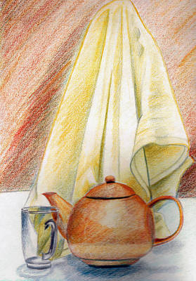 Colored Pencil Painting - At Kitchen by Zara GDezfuli